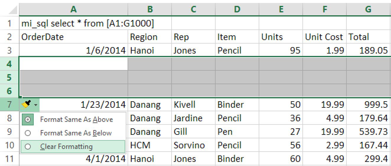 5 - phím tắt chèn dòng trong Excel