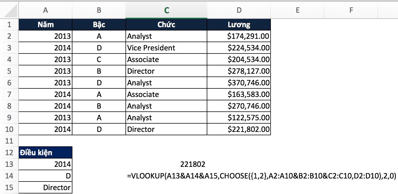 Excel sử dụng vlookup nhiều điều kiện