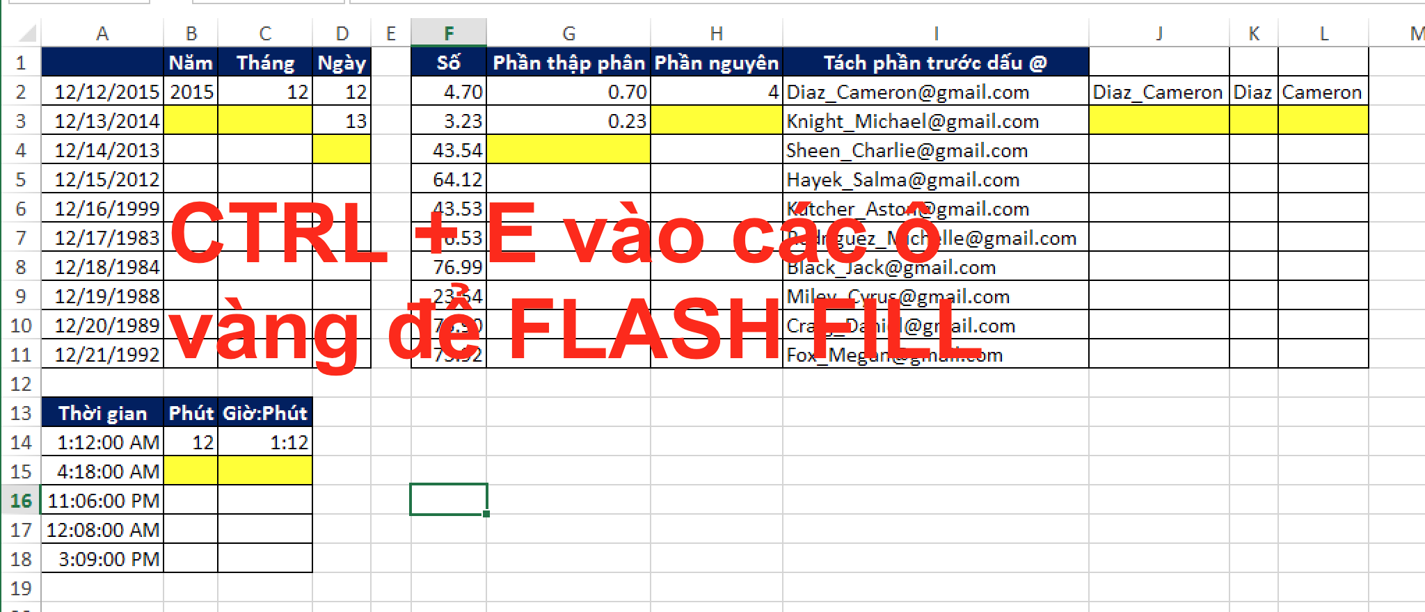 Sử dụng Flashfill trong Excel