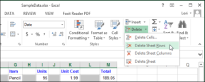 Excel xoá dòng trống xoá cột trống 06