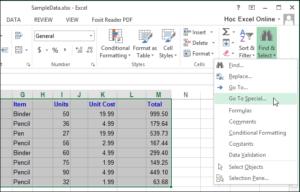 Excel xoá dòng trống xoá cột trống 09
