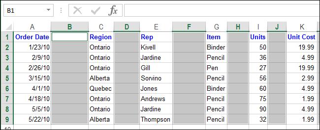 Excel xoá dòng trống xoá cột trống 11