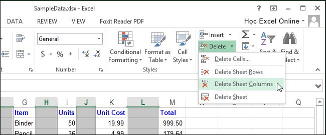 Excel xoá dòng trống xoá cột trống 12
