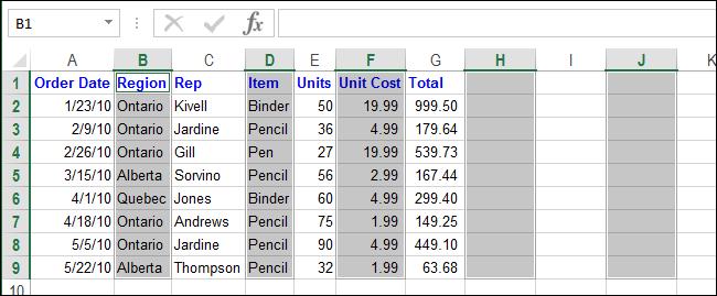 Excel xoá dòng trống xoá cột trống 13