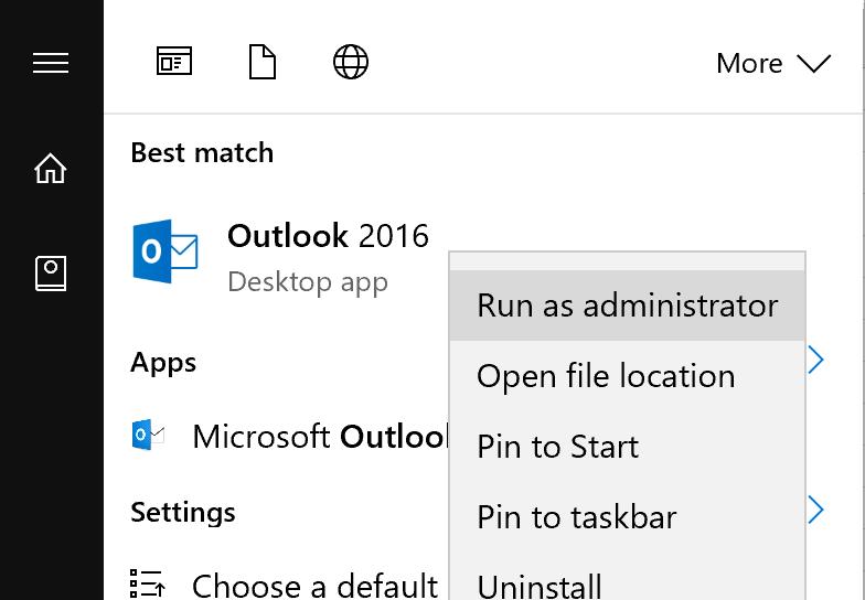 Chạy Outlook với quyền Admin