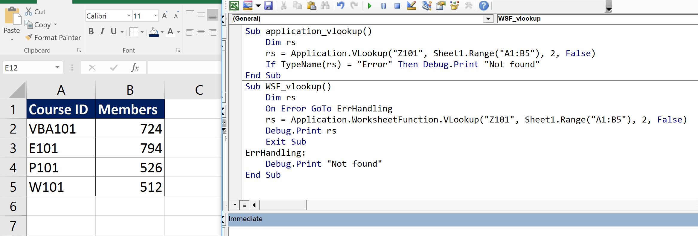 Application.VLOOKUP vs WorksheetFunction.VLOOKUP - Học Excel ...