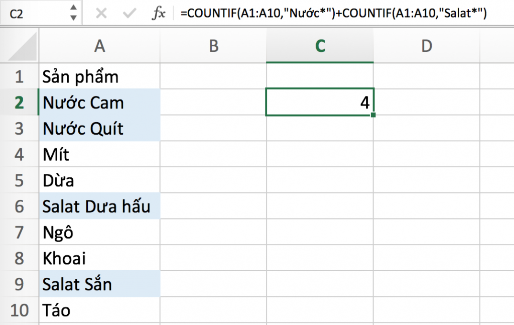sử dụng countif trong excel