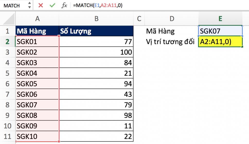 1- Hàm Match trong Excel qua các ví dụ
