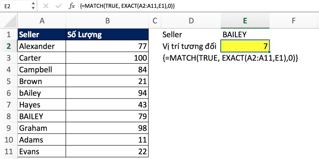 3 - Hàm Match trong Excel qua các ví dụ
