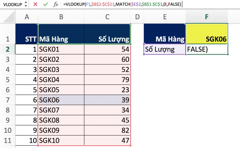 7 - Hàm Match trong Excel qua các ví dụ