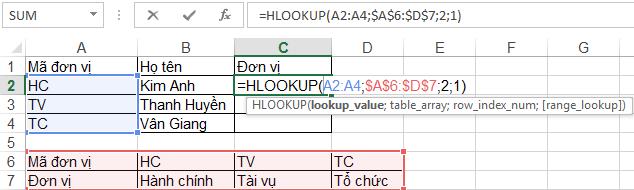hàm tìm kiếm vlookup và hlookup trong excel