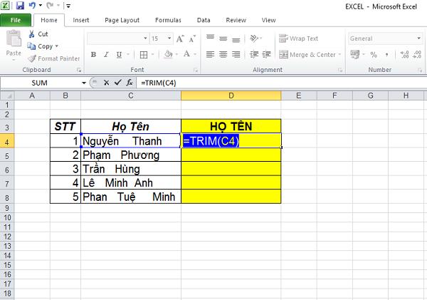 hàm trim trong excel, hướng dẫn sử dụng và có ví dụ cụ thể
