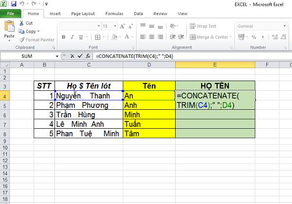 hàm trim trong excel, hướng dẫn sử dụng và có ví dụ          chi tiết