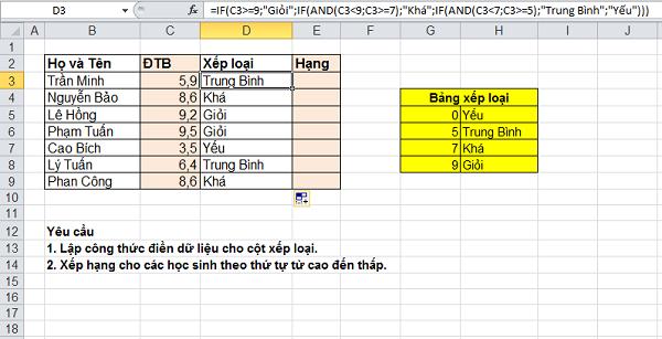 bài tập excel có lời giải (dùng hàm if, round, sum, min, max, average) phần 1