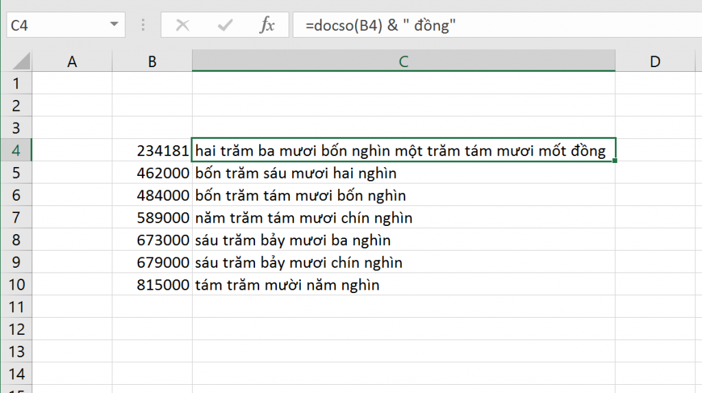 Đọc số thành chữ bằng Add-in từ Học Excel Online 1