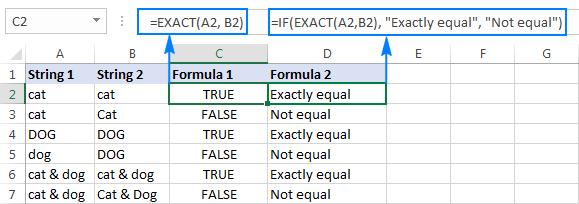 2 - so sánh chuỗi trong excel