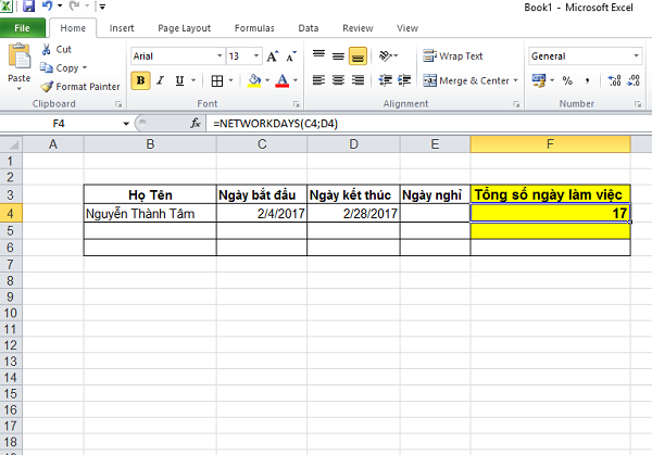 hàm networkdays và cách dùng hàm networkdays trong excel