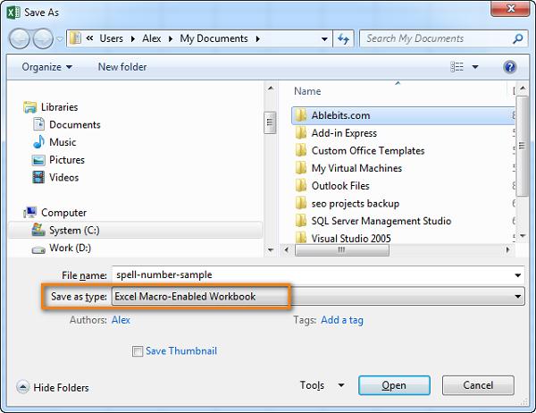 """Save as type"""" và """"Excel macro-enabled workbook"""