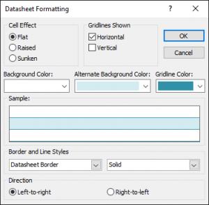 Hộp thoại Datasheet Formatting