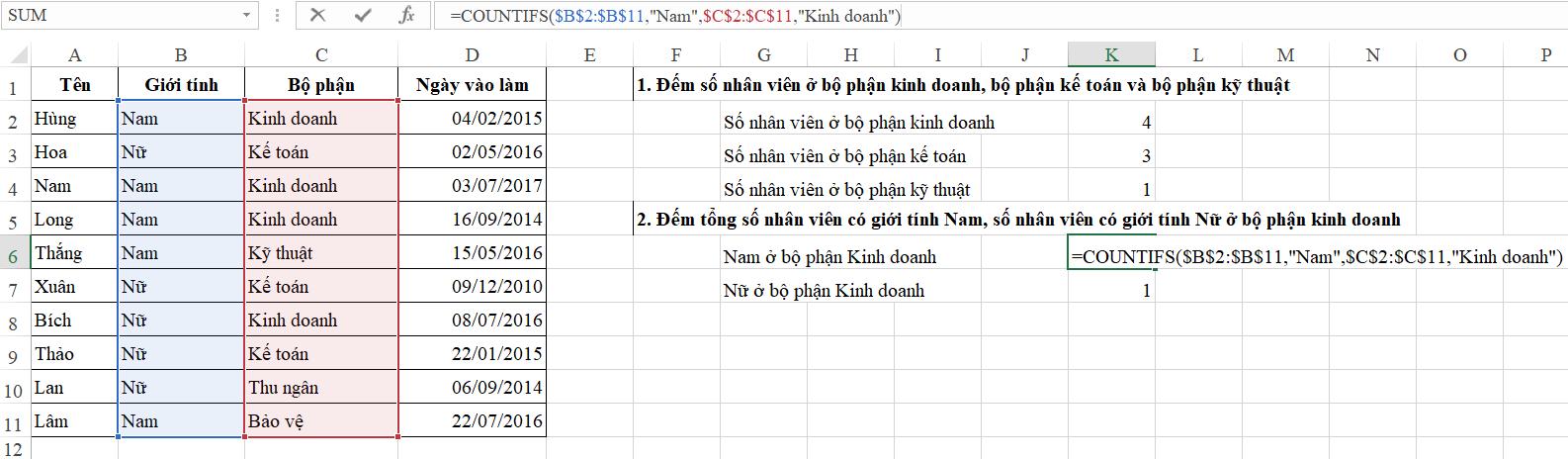 2- Cách sử dụng hàm Countifs đếm theo nhiều điều kiện