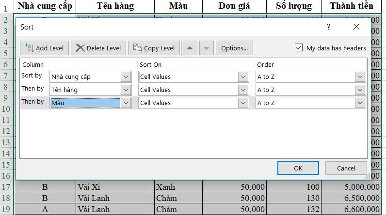 Hướng dẫn cách sắp xếp dữ liệu theo nhiều điều kiện trong Excel