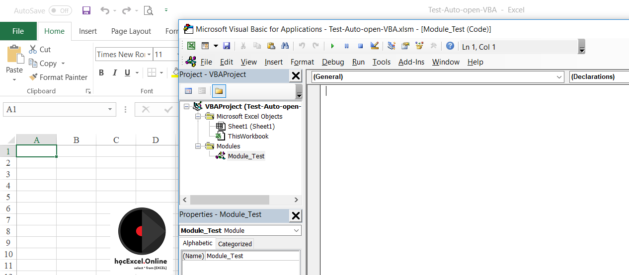 Tự động mở cửa sổ VBA khi mở file Excel - Học Excel Online
