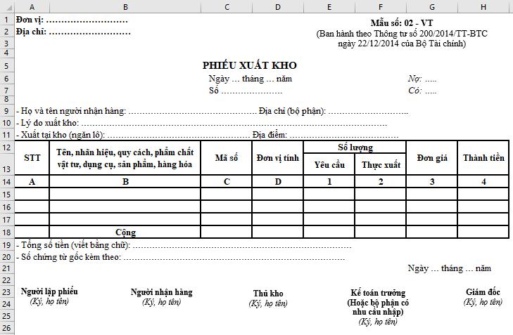 Mẫu Phiếu xuất kho theo Thông tư 200 trên Excel: