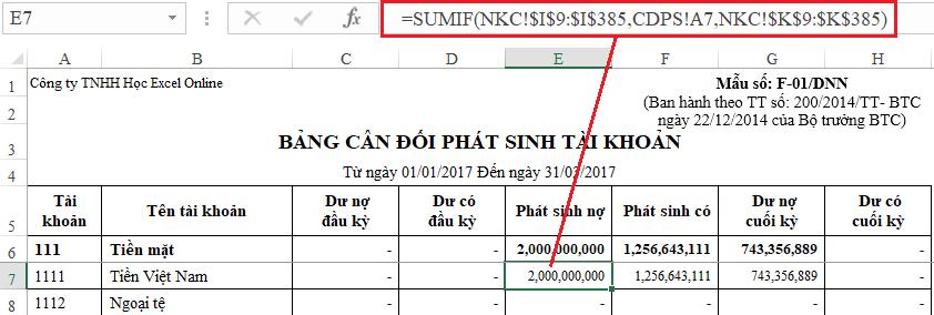 4- hàm Excel thường sử dụng trong kế toán tổng hợp
