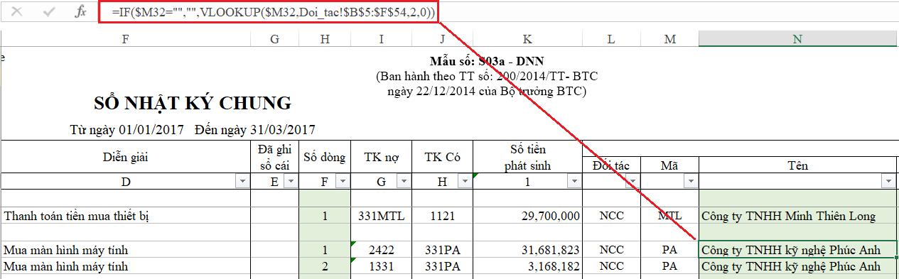 3- hàm Excel thường sử dụng trong kế toán tổng hợp