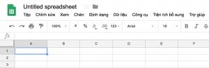 Giao diện Google Sheet bằng tiếng Việt