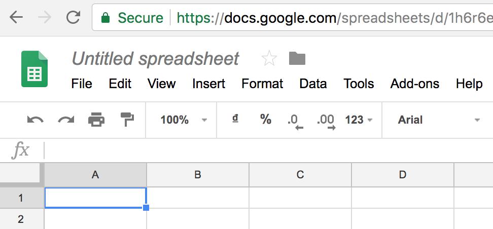 Giao diện Google Sheet tiếng Anh