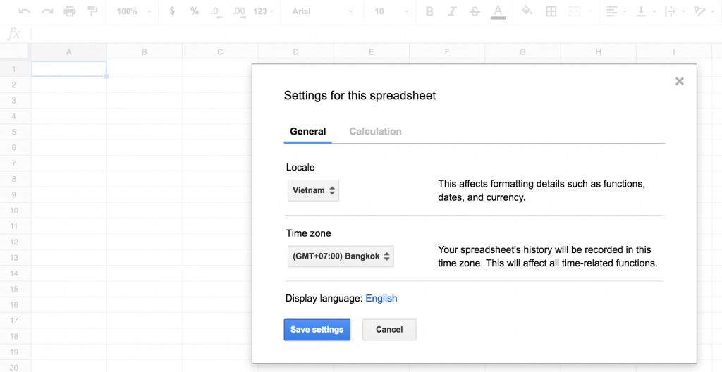 Sửa locale và time zone settings trong Google Sheets