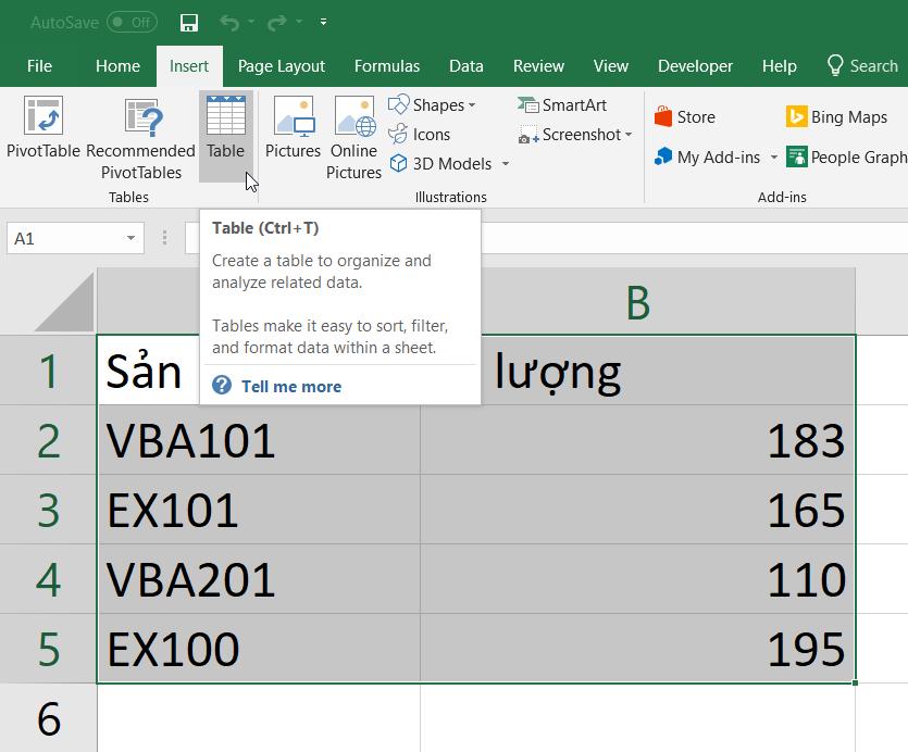 Tạo bảng từ dữ liệu vùng sẵn có