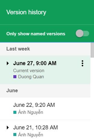 2- cách xem lịch sử chỉnh sửa google trang tính google sheets