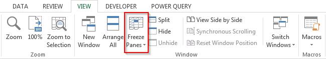 tính năng freeze