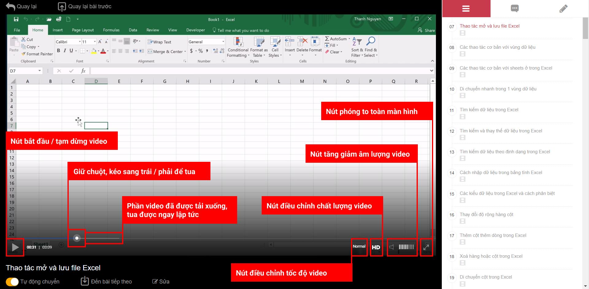 Cách tương tác với trình phát videos trên Học Excel Online