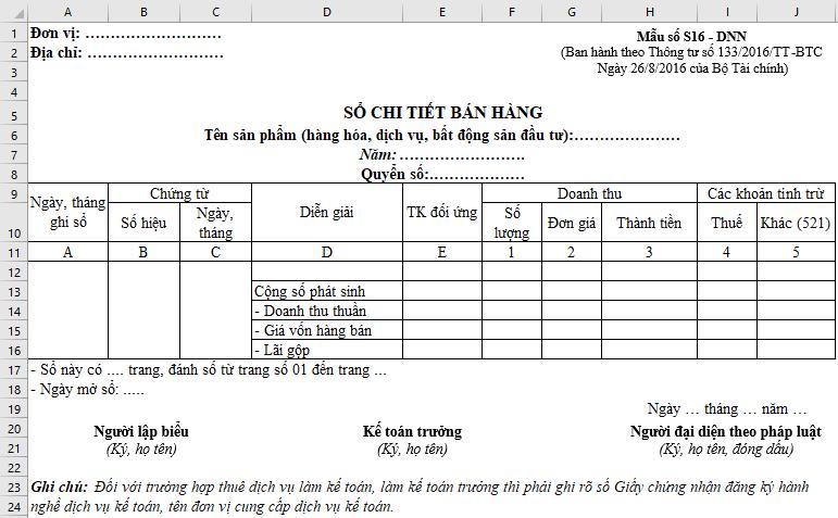 Hướng dẫn lập mẫu Sổ chi tiết bán hàng theo Thông tư 133 trên Excel