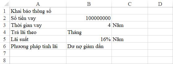 Cách tính lãi suất vay tiêu dùng trên excel 4