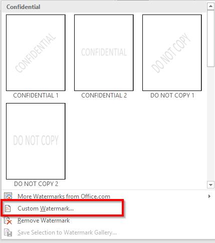 Chọn định dạng của Watermark