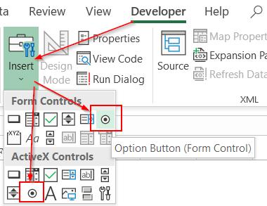Hướng dẫn cách tạo và sử dụng nút tùy chọn Option button trong Excel