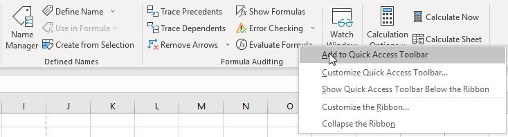 Click phải vào biểu tượng của Evaluate Formula, chọn Add to Quick Access  Toolbar.