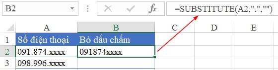 3- cách bỏ dấu chấm trong dãy số điện thoại trên Excel