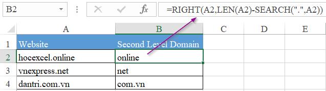 hàm lấy kí tự ở giữa trong Excel