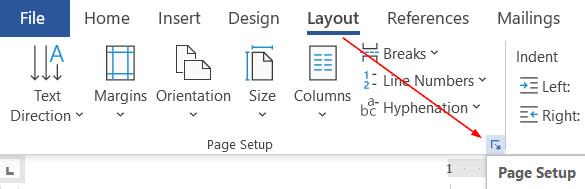 Thiết lập căn lề trong Page Setup Word