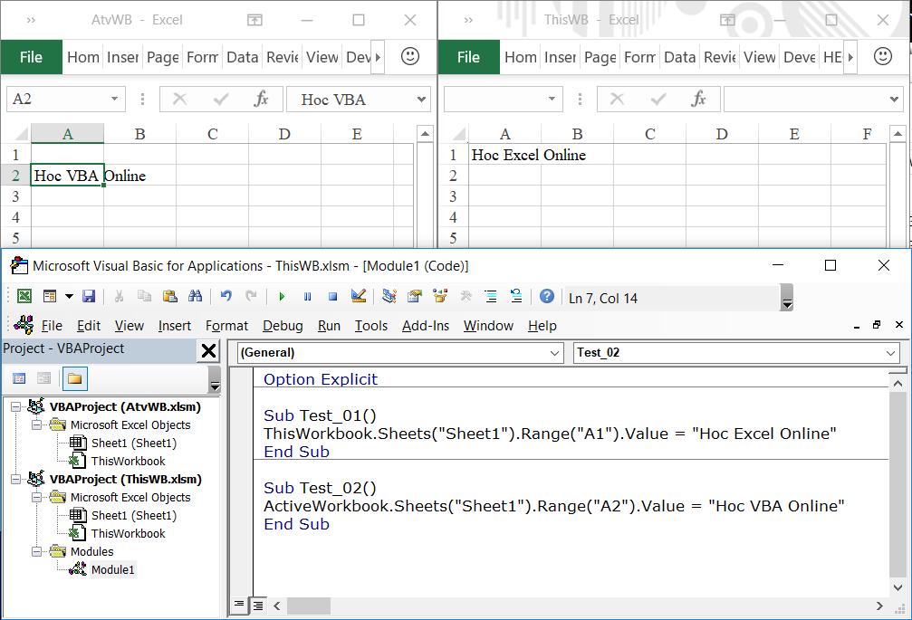 Hướng dẫn cách phân biệt ActiveWorkbook với ThisWorkbook khi lập