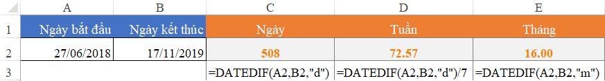 hàm datedif, tính khoảng thời gian giữa 2 thời điểm trong excel