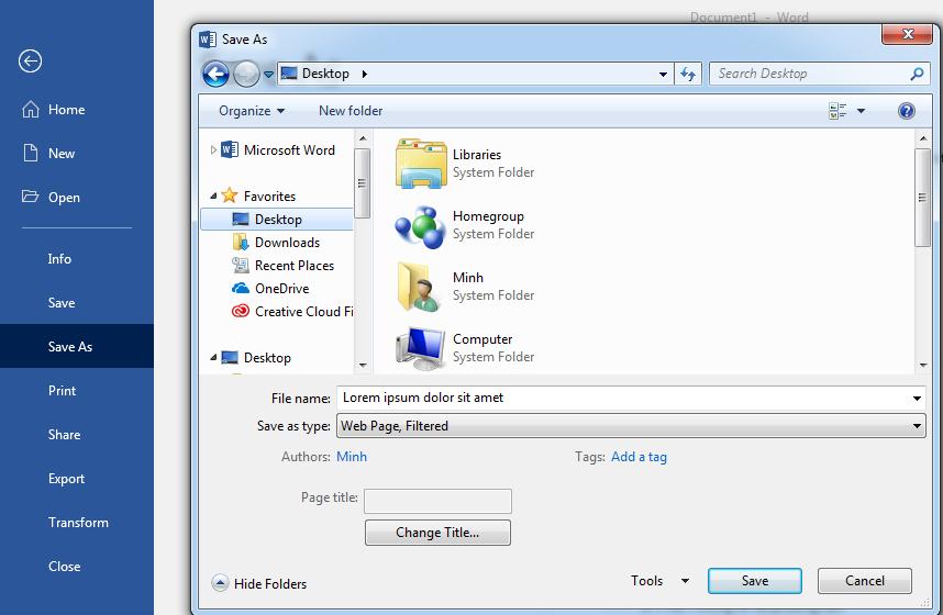 Hướng dẫn lưu tài liệu dưới dạng trang web - Học Excel