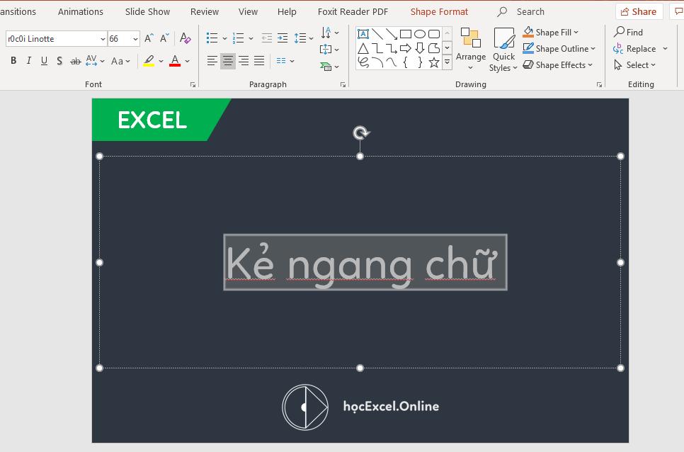 cách viết chữ gạch ngang ở giữa chữ - học excel online miễn phí
