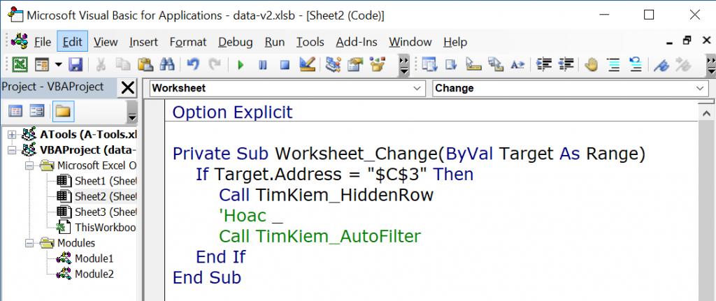 Hướng dẫn cách tạo công cụ tìm kiếm nhanh trong Excel bằng VBA 4