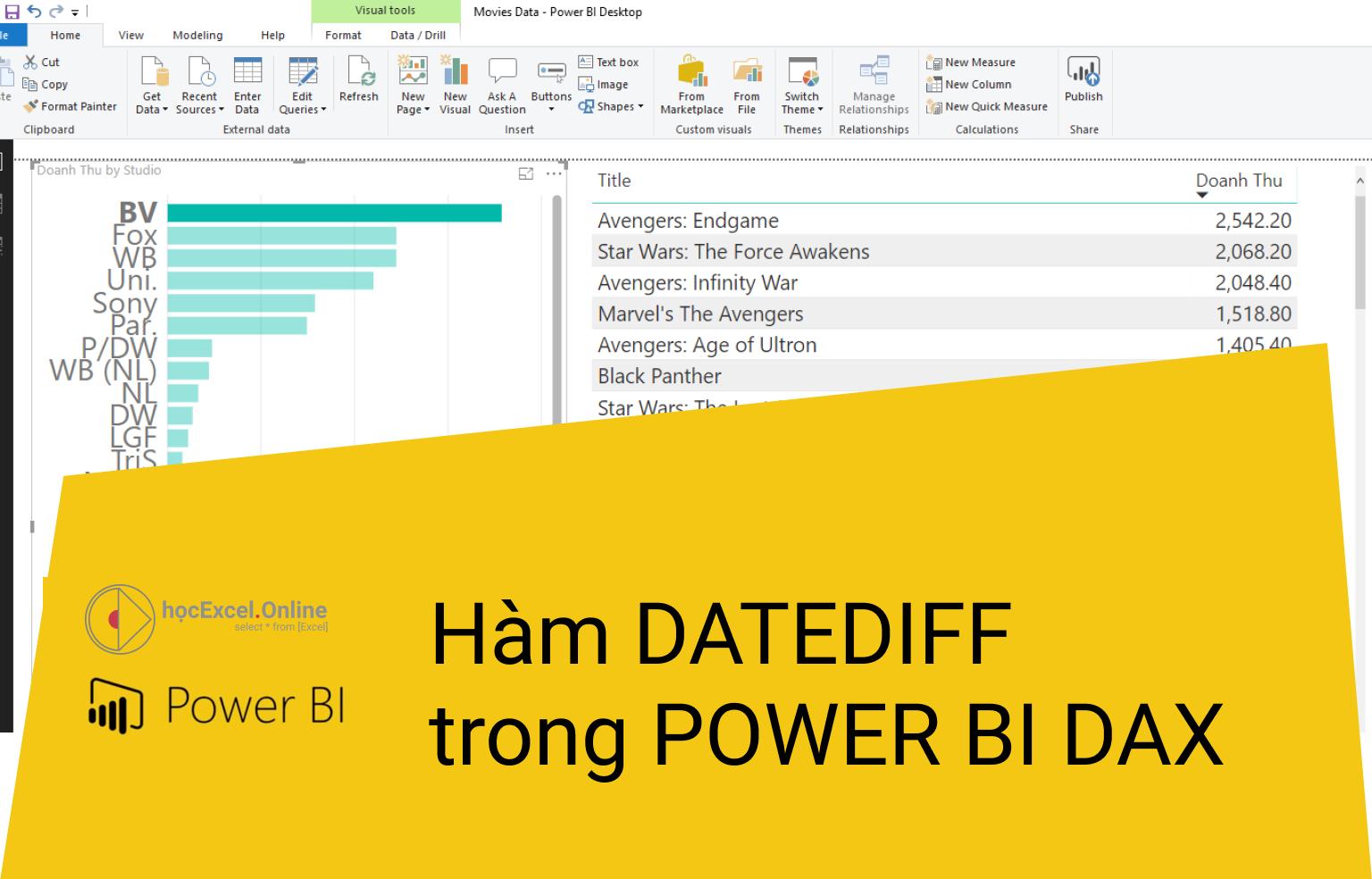 Hàm DATEDIFF trong Power BI DAX - Học Excel Online Miễn Phí